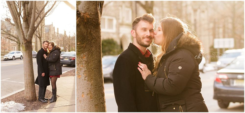 Winter streetscape engagement portraits in setting sun | Christina Keddie Photography | Princeton NJ engagement photographer