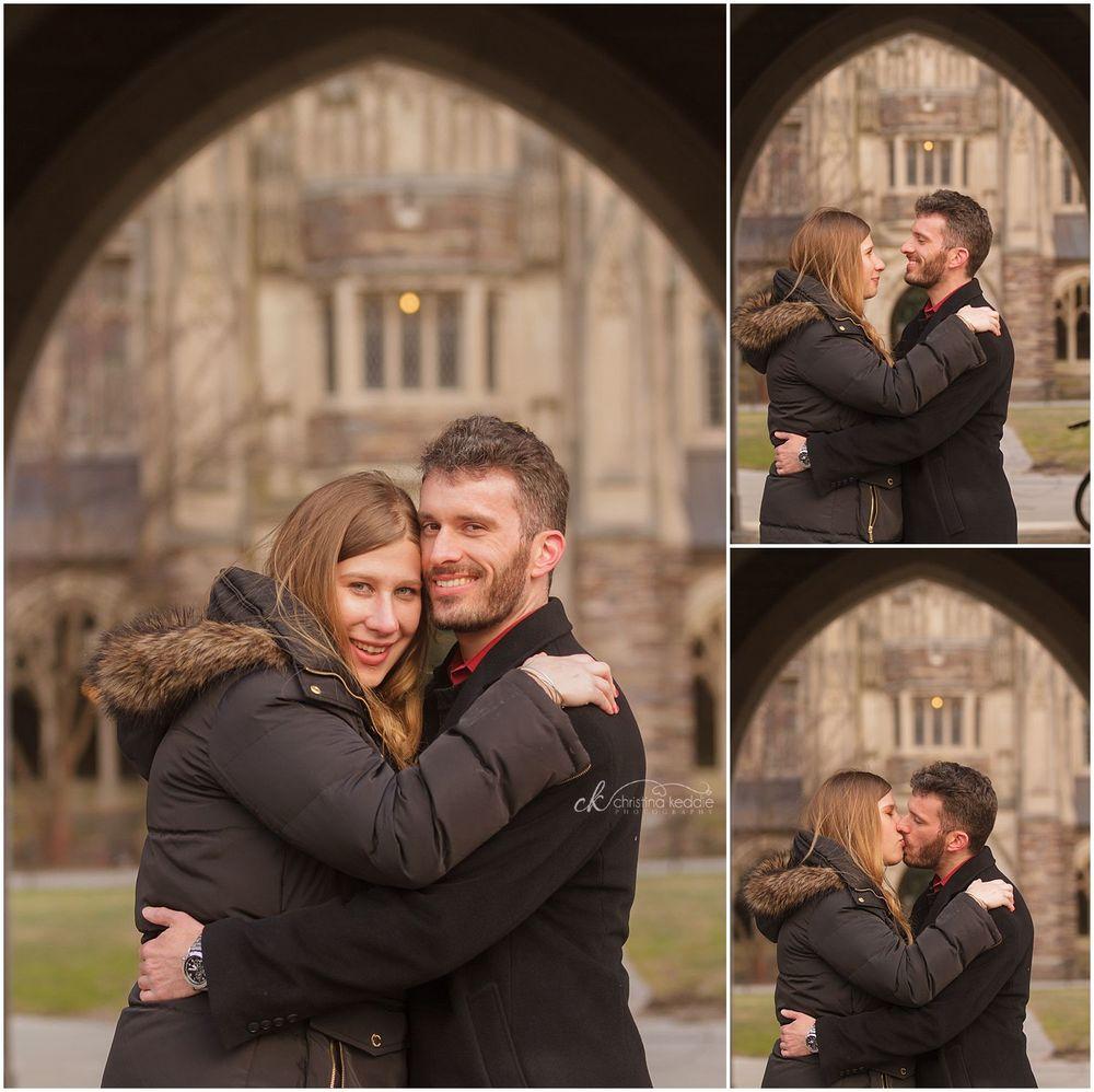 Winter engagement portraits in gothic archway | Christina Keddie Photography | Princeton NJ engagement photographer