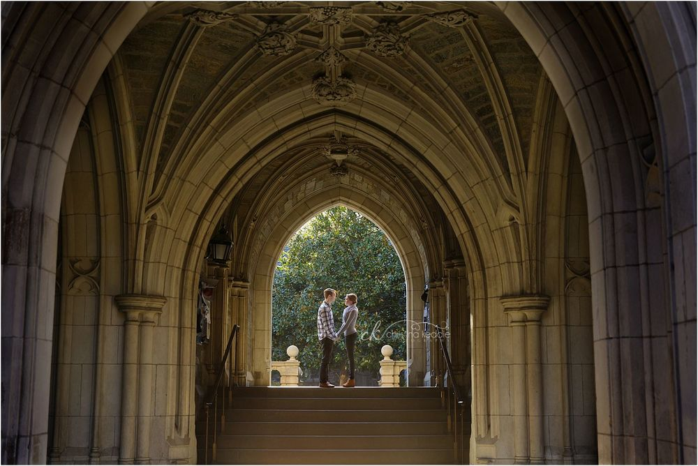 Engagement portrait in gothic archway on Princeton University campus | Christina Keddie Photography | Princeton NJ engagement photographer