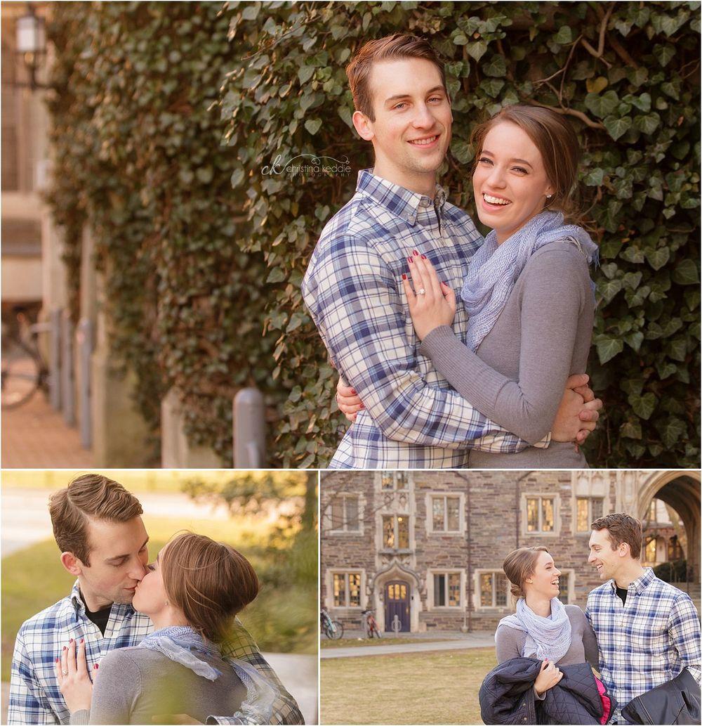 Engagement portraits with ivy and Princeton campus | Christina Keddie Photography | Princeton NJ engagement photographer