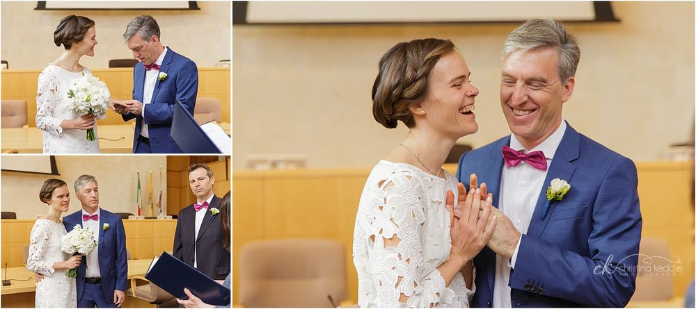 Exchange of rings laughing couple | Christina Keddie Photography | Princeton NJ wedding photographer