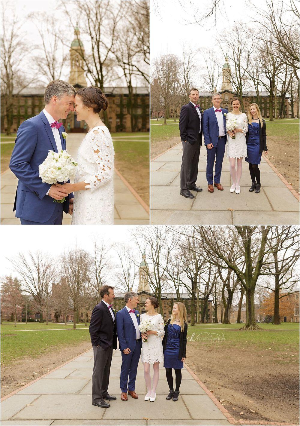 Bride and groom with bridal party by Nassau Hall | Christina Keddie Photography | Princeton NJ wedding photographer