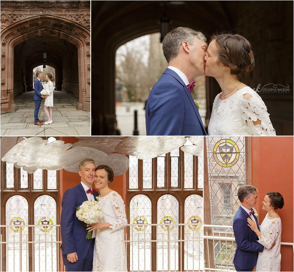 Bride and groom by gothic arches and in East Pyne Hall | Christina Keddie Photography | Princeton NJ wedding photographer