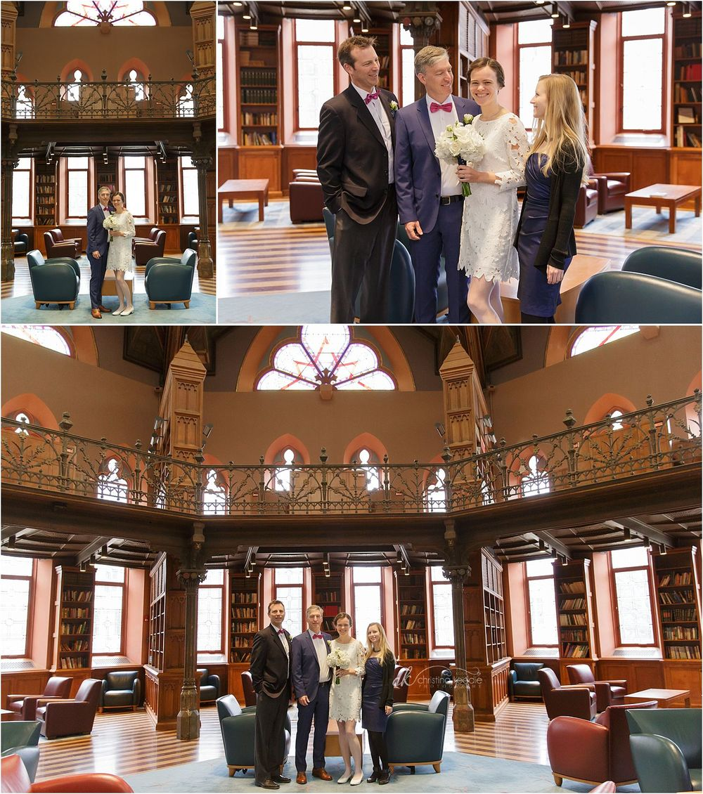 Bride and groom and bridal party in Chancellor Green library stained glass | Christina Keddie Photography | Princeton NJ wedding photographer