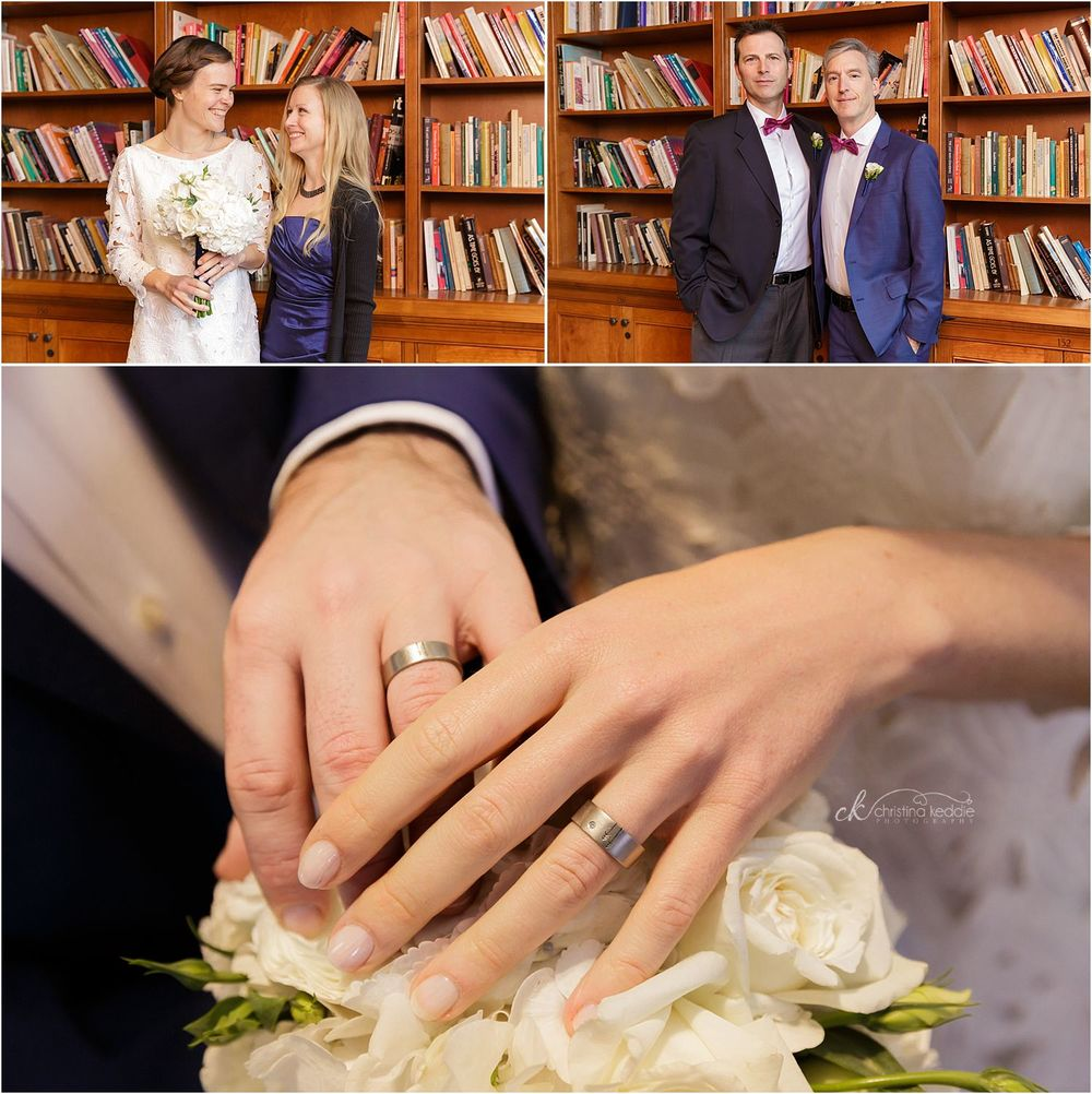 Bridal party in library and detail shot of rings | Christina Keddie Photography | Princeton NJ wedding photographer
