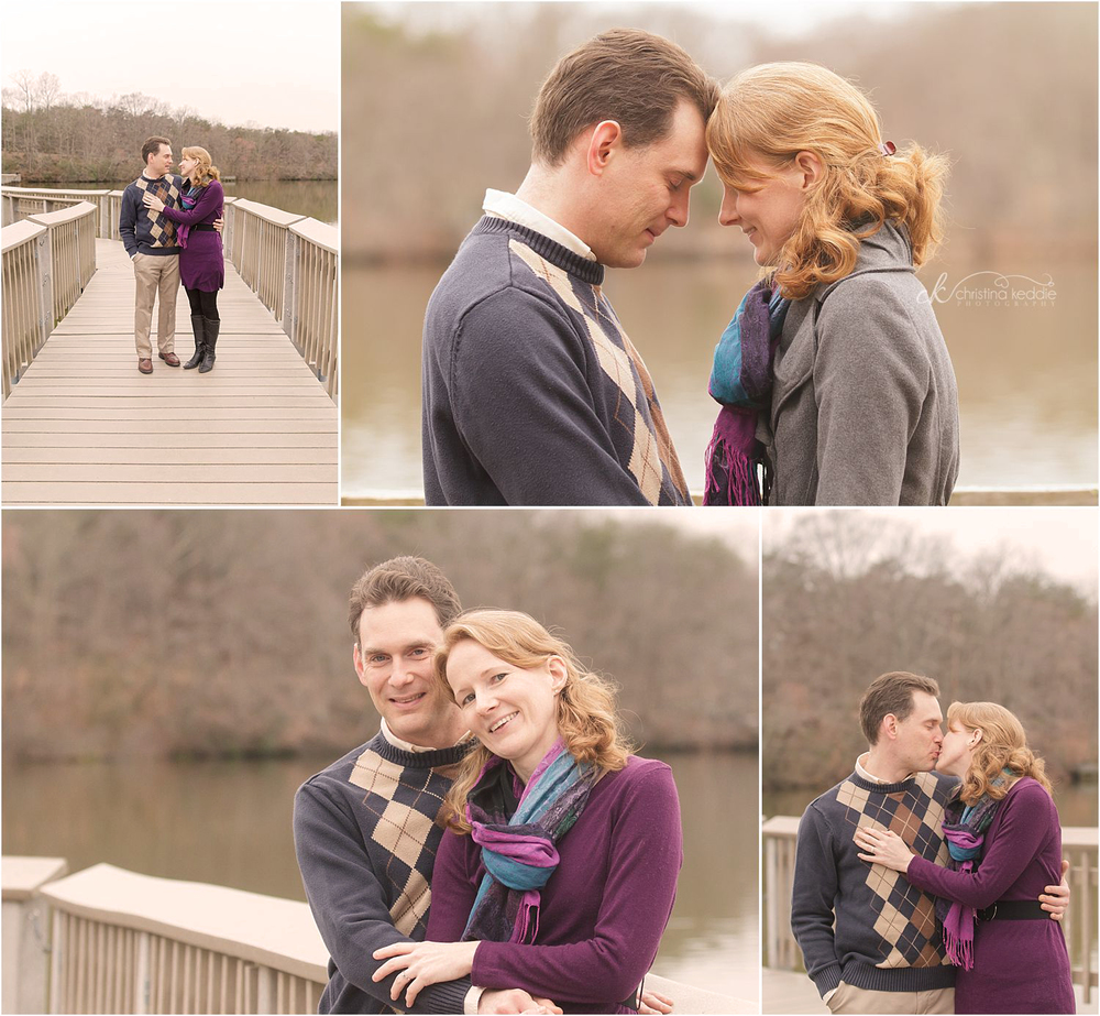 Couple walking and kissing on bridge | Christina Keddie Photography | Historic Smithville Park engagement photographer