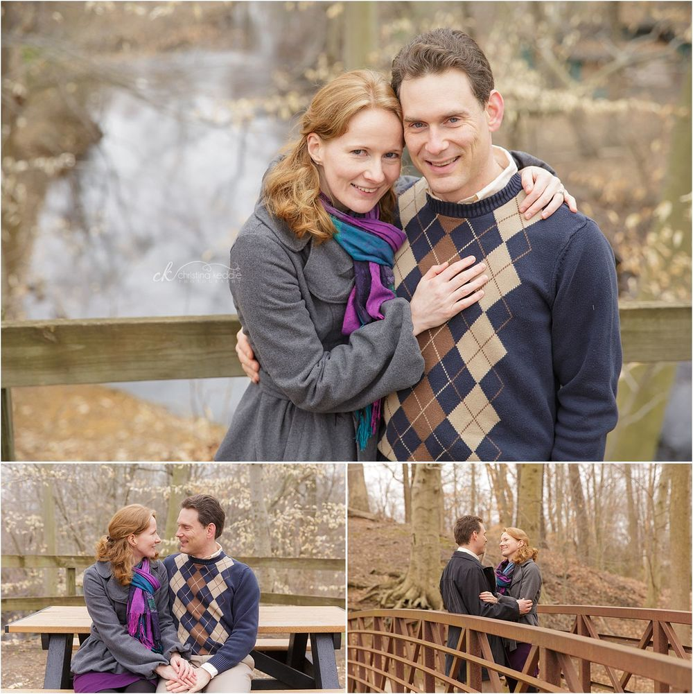 Couple on bridge in woods by lake | Christina Keddie Photography | Burlington County NJ engagement photographer