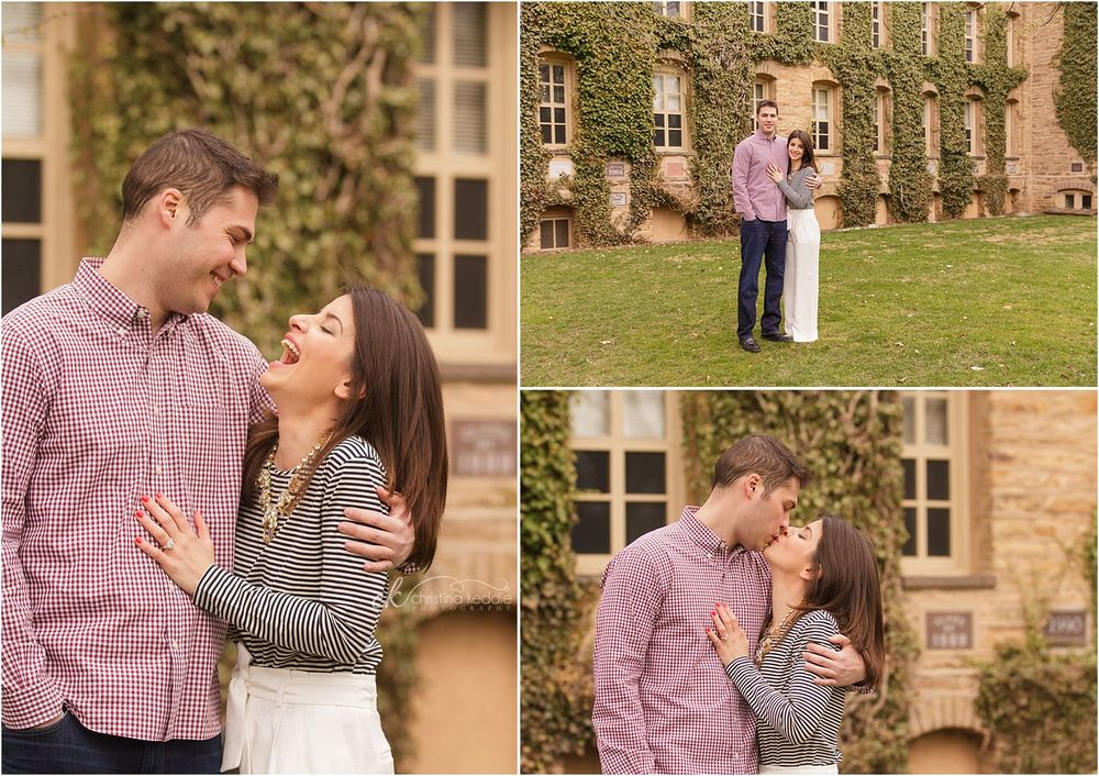 Laughing and kissing couple by ivy-covered wall | Christina Keddie Photography | Princeton NJ engagement photographer