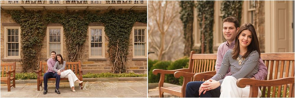 Couple on bench by ivy-covered wall | Christina Keddie Photography | Princeton NJ engagement photographer