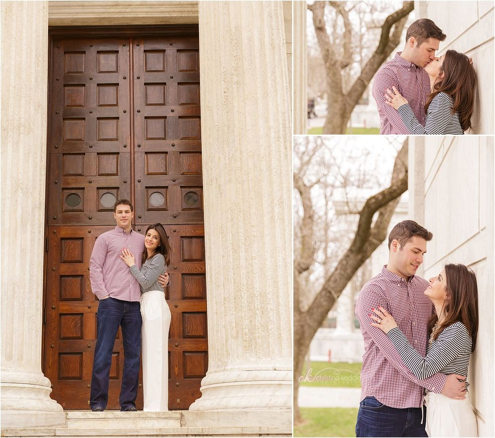 Couple by neoclassical columns on campus | Christina Keddie Photography | Princeton NJ engagement photographer