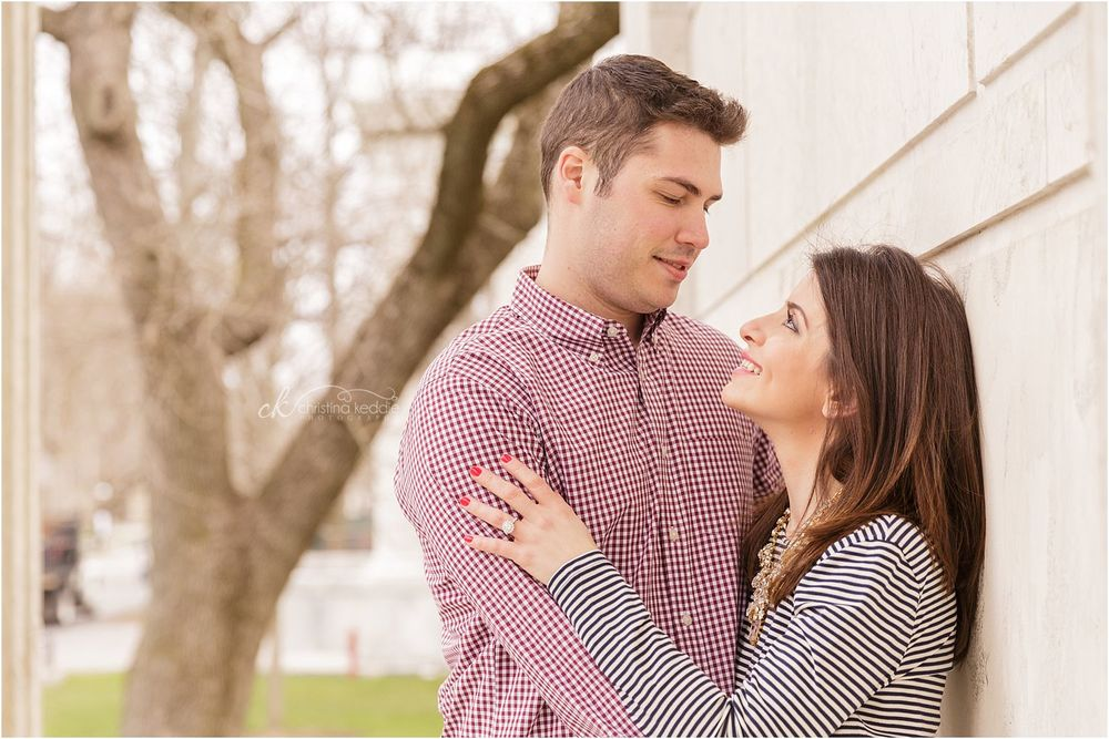 Romantic couple portrait by white marble wall | Christina Keddie Photography | Princeton NJ engagement photographer