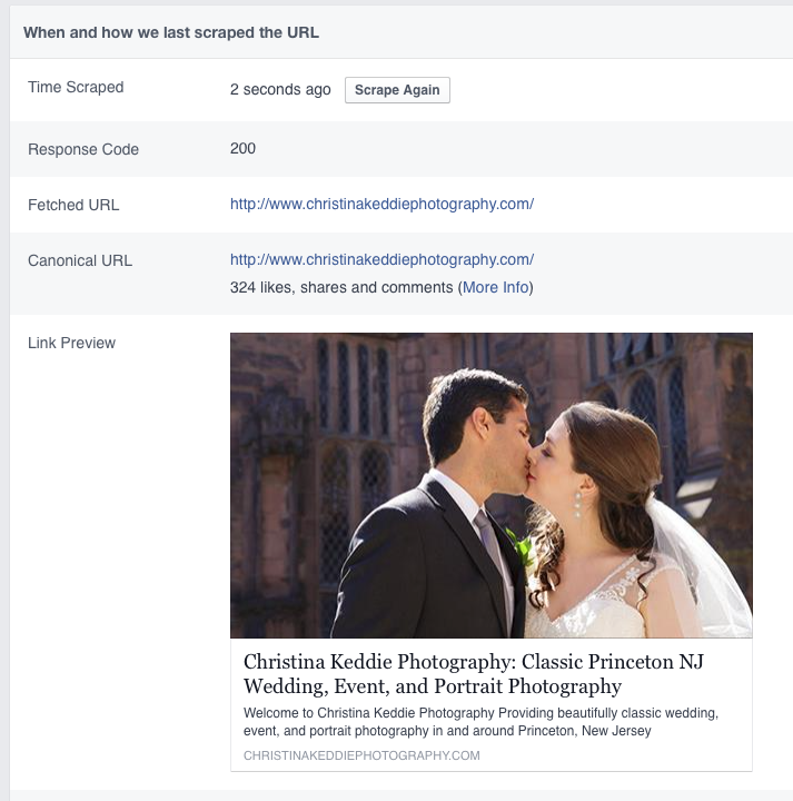 Facebook debugger with new link preview information | Squarespace mentoring and tutorials
