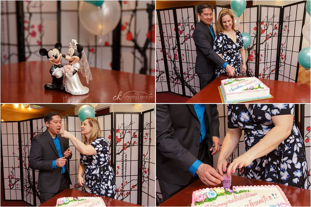 Cake cutting at family reception | Christina Keddie Photography | Edison NJ event photographer