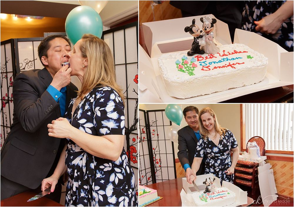 Bride and groom with cake at reception | Christina Keddie Photography | Edison NJ event photographer