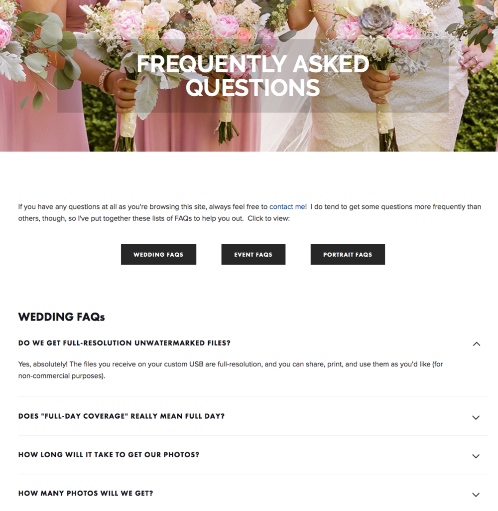 Screenshot of accordion-style clickable FAQ page | Christina Keddie Photography | Squarespace web design tutorials