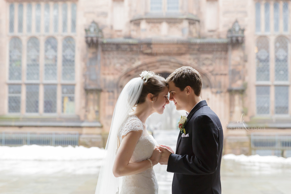 Bride and groom touching foreheads in gothic archway | Christina Keddie Photography | Princeton NJ wedding photographer