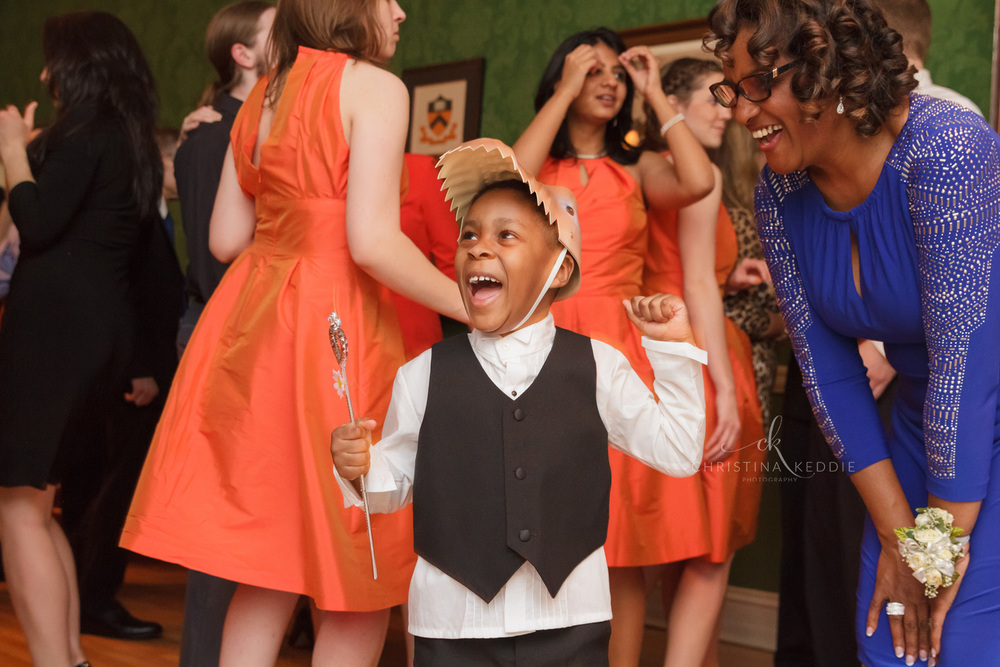 Happy little ring bearer dancing at reception | Christina Keddie Photography | Princeton NJ wedding photographer