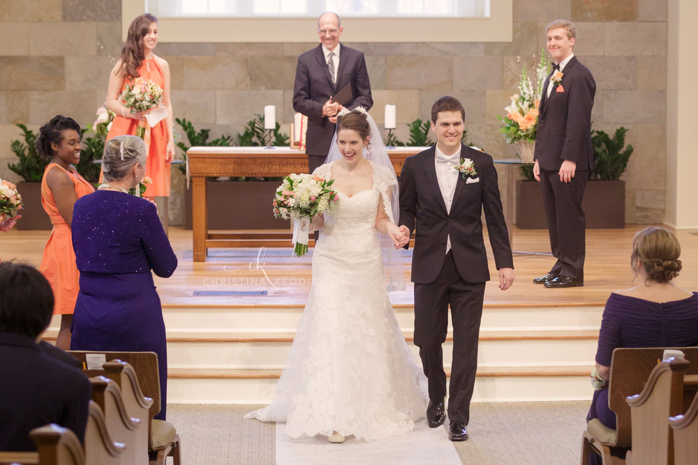 Bride and groom recessional in wedding ceremony | Christina Keddie Photography | Princeton NJ wedding photographer