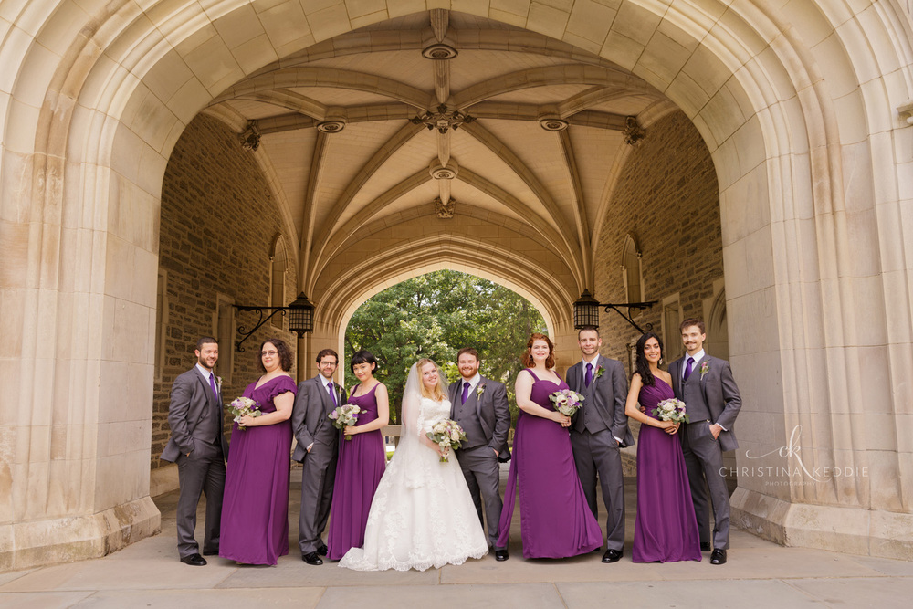 Bridal party formal portrait in gothic archway | Christina Keddie Photography | Princeton NJ wedding photographer