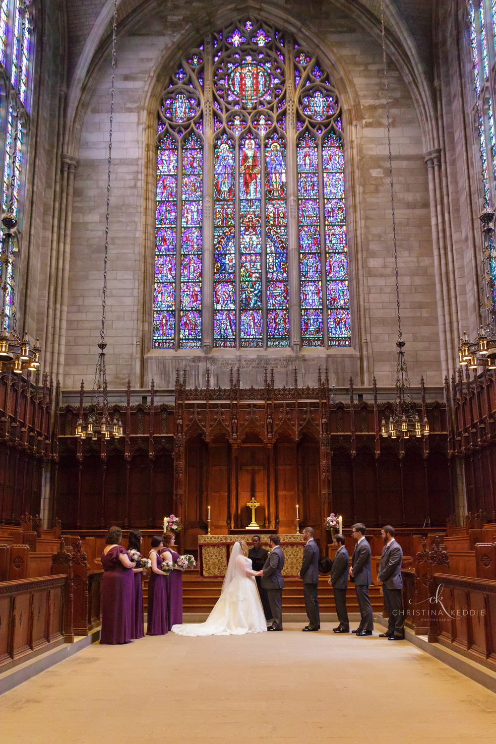 Wedding ceremony in university chapel with stained glass | Christina Keddie Photography | Princeton NJ wedding photographer