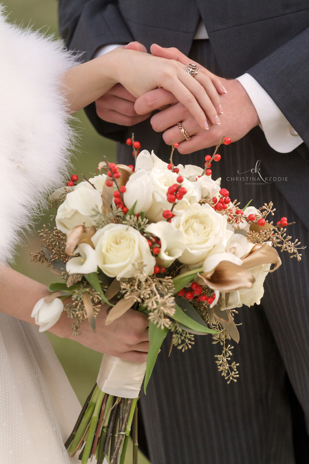 Winter wedding flowers and rings | Christina Keddie Photography | Princeton NJ wedding photographer
