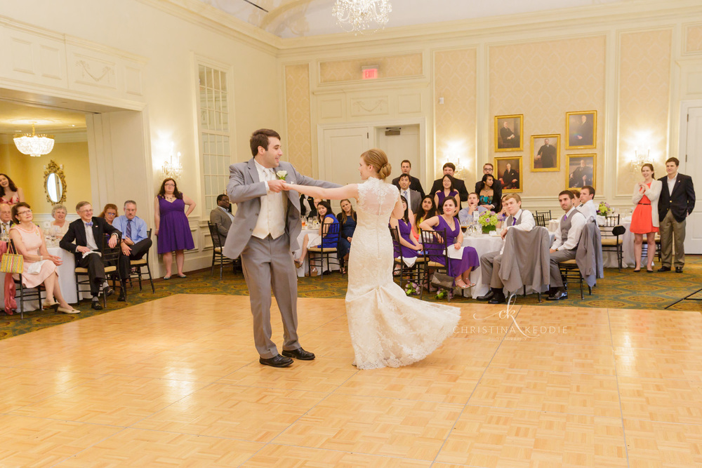 Bride and groom first dance country club ballroom | Christina Keddie Photography | New Jersey wedding photographer