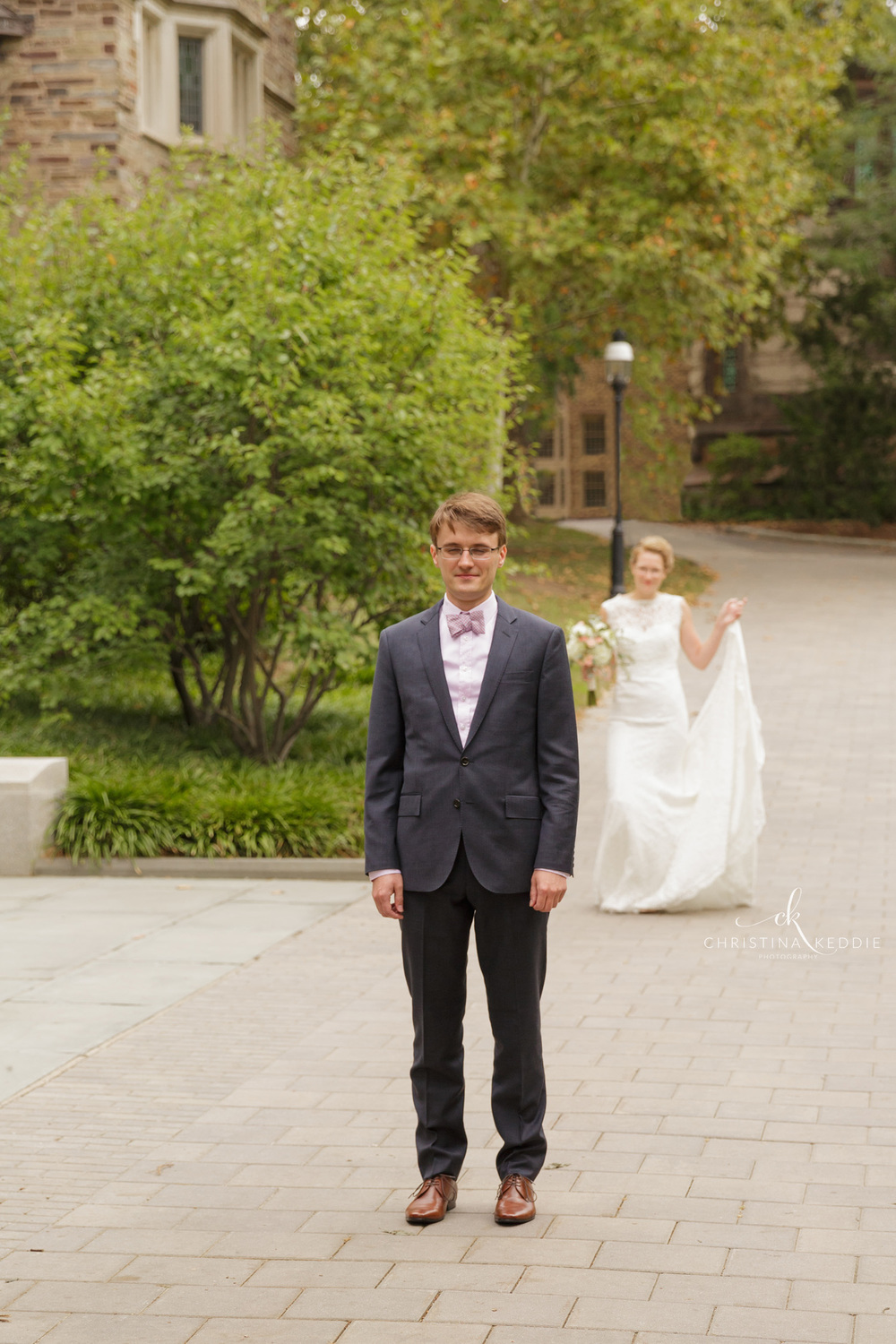 Bride and groom first look before ceremony | Christina Keddie Photography | Princeton NJ wedding photographer