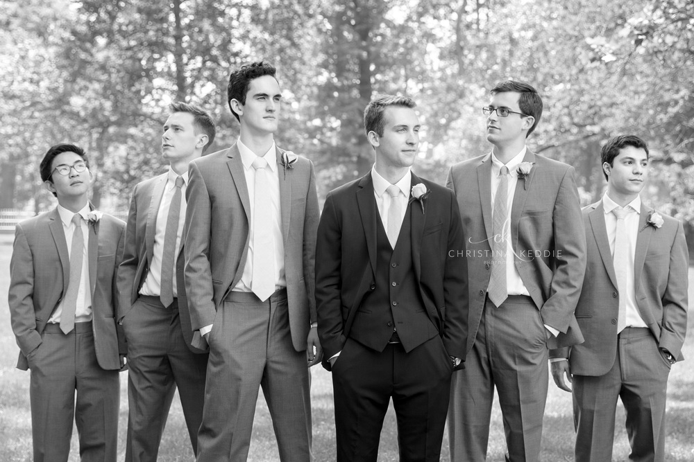 Groom and groomsmen flying V pose | Christina Keddie Photography | Princeton NJ wedding photographer