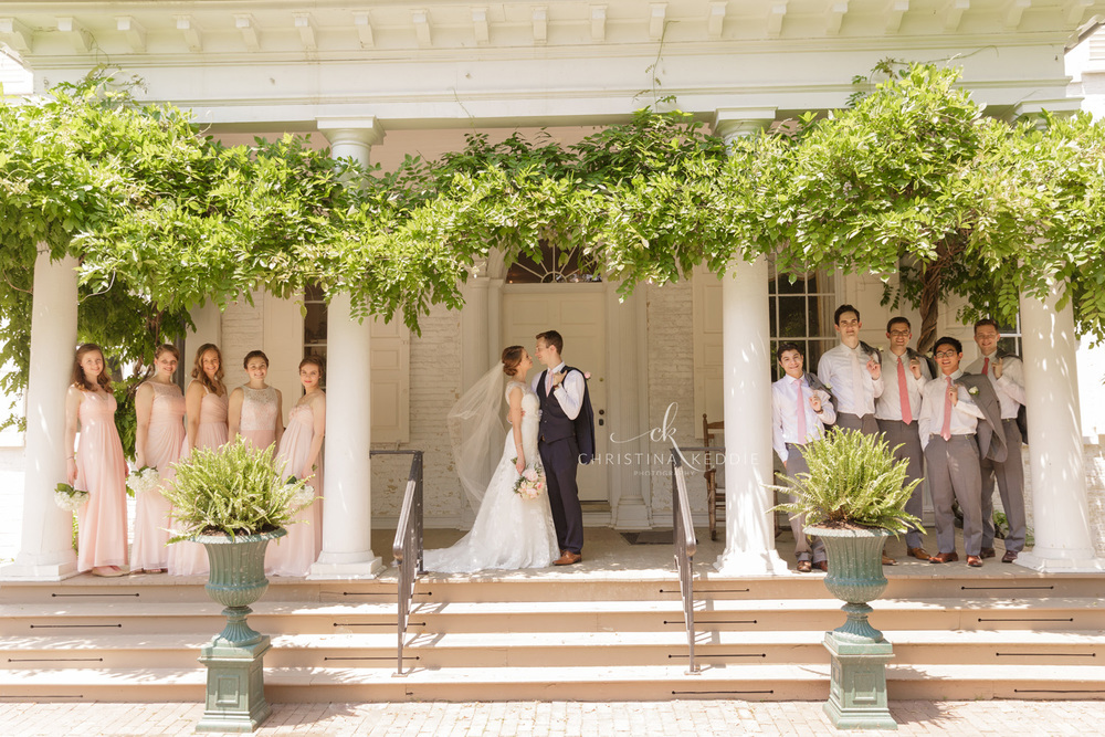 Bridal party formal portrait on Morven House ivy-covered porch | Christina Keddie Photography | Princeton NJ wedding photographer