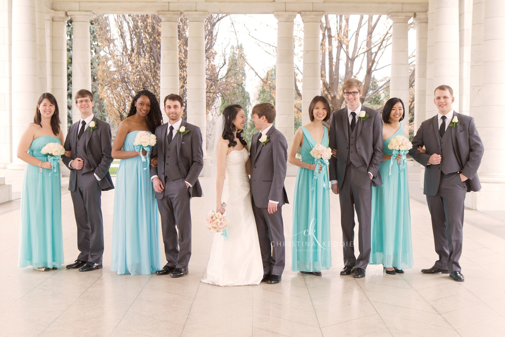 Bridal party formal portrait in splendid colonnade | Christina Keddie Photography | Princeton NJ wedding photographer