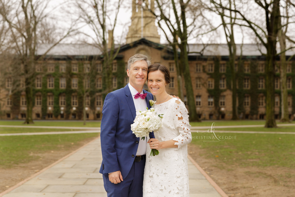 Bride and groom formal portrait in front of Nassau Hall | Christina Keddie Photography | Princeton NJ wedding photographer