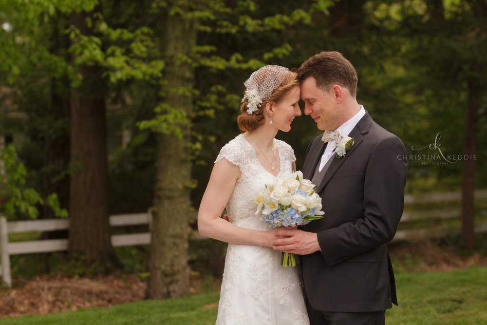 Bride and groom first look in forest | Christina Keddie Photography | Princeton NJ wedding photographer