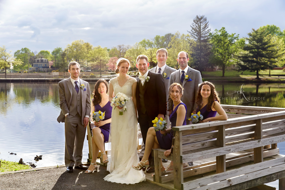 Bridal party formal portrait on lake jetty | Christina Keddie Photography | Cherry Hill NJ wedding photographer