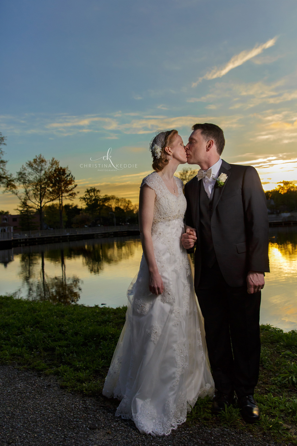 Sunset formal portrait of bride and groom | Christina Keddie Photography | Princeton NJ wedding photographer