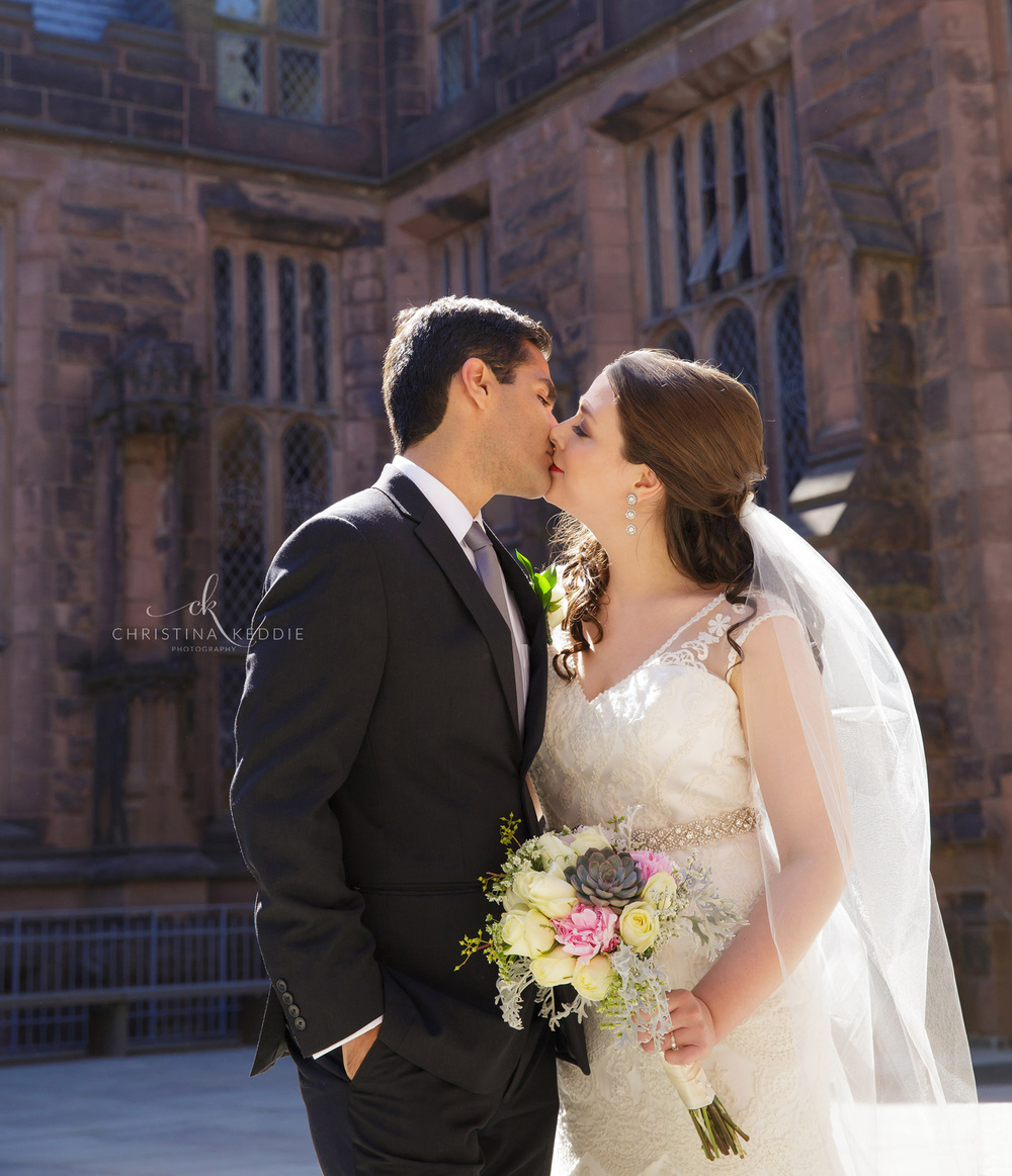 Bride and groom kissing in gothic architecture | Christina Keddie Photography | Princeton NJ wedding photographer
