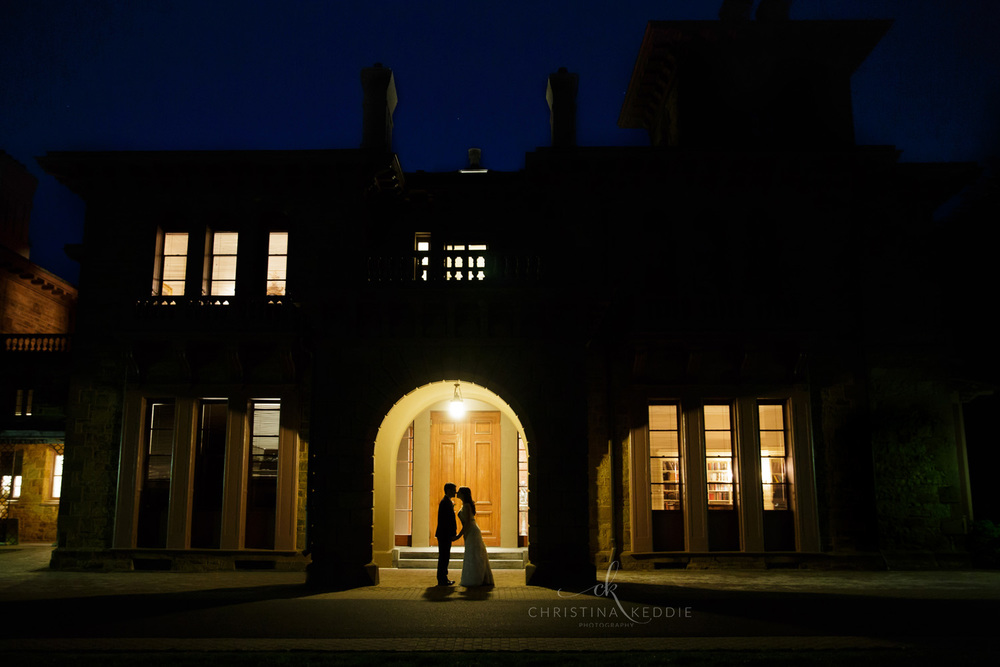 Bride and groom nighttime silhouette portrait in archway | Christina Keddie Photography | Princeton NJ wedding photographer