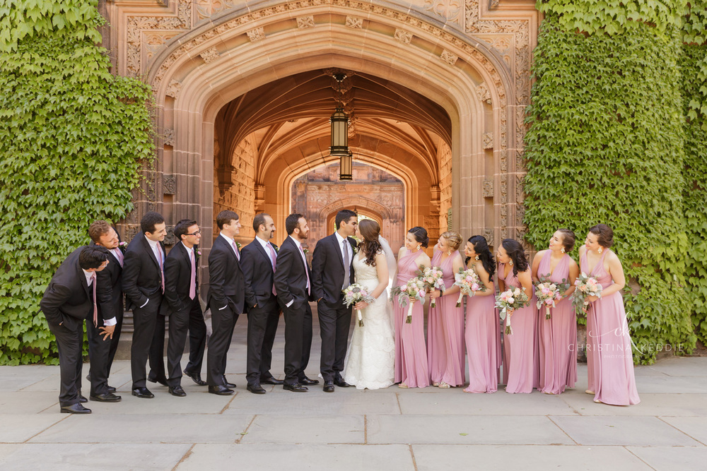 Bridal party formal portrait in gothic architecture | Christina Keddie Photography | Princeton NJ wedding photographer