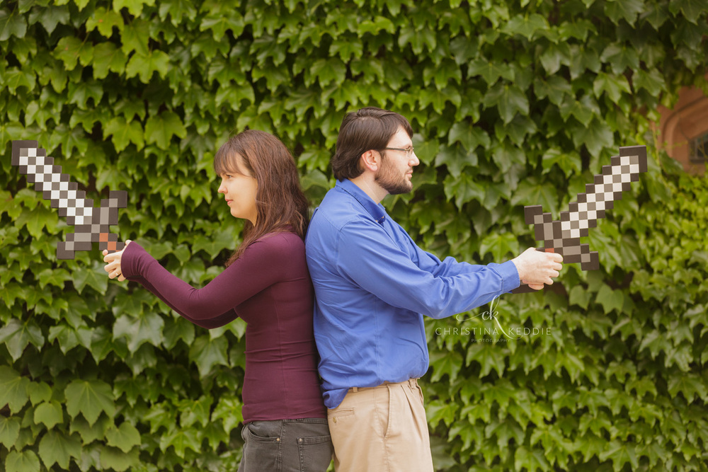 Engaged couple with Minecraft swords | Christina Keddie Photography | Princeton NJ engagement photographer