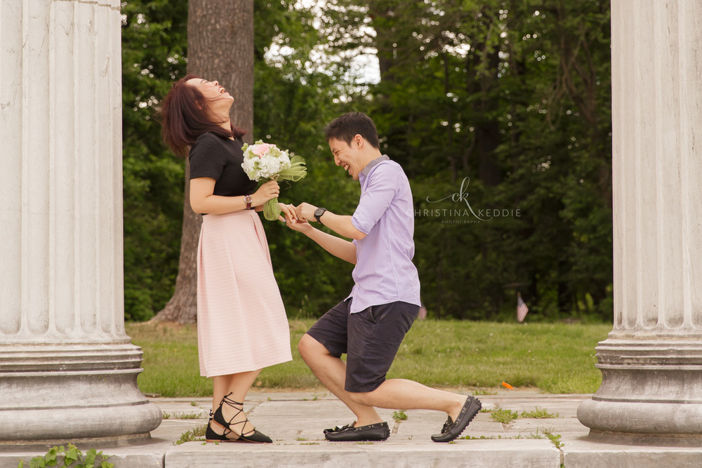 Surprise proposal portrait by colonnade ruins | Christina Keddie Photography | Princeton NJ engagement photographer
