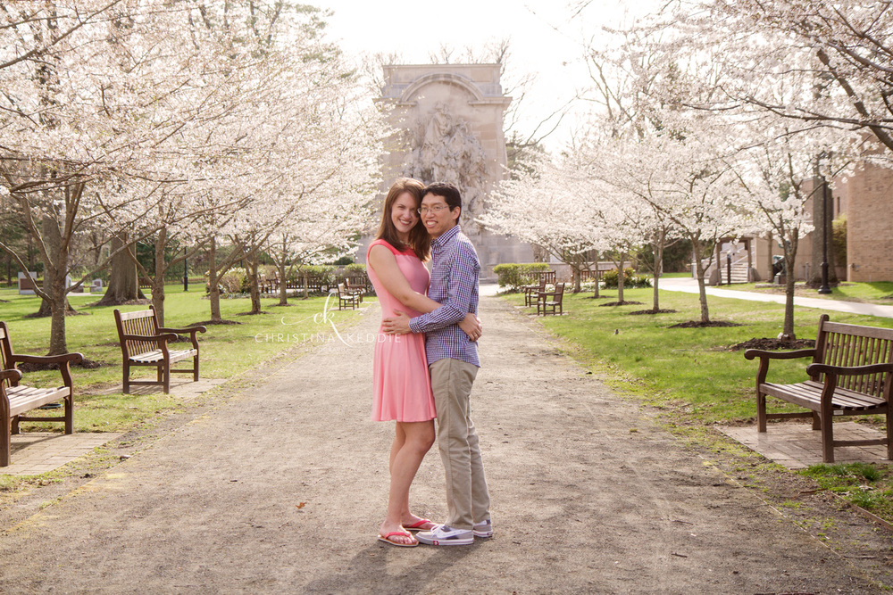 Engaged couple with cherry blossoms | Christina Keddie Photography | Princeton NJ engagement photographer