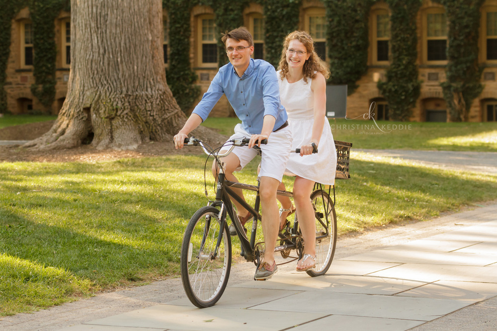 Engaged couple riding tandem bicycle | Christina Keddie Photography | Princeton NJ engagement photographer