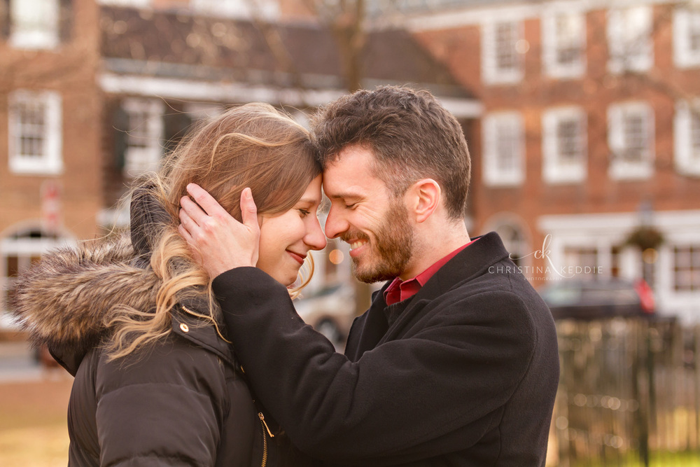 Winter engagement portrait in town square | Christina Keddie Photography | Princeton NJ engagement photographer