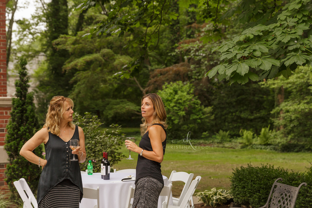 Graduation party guests at cocktail tables | Christina Keddie Photography | Princeton NJ event photographer
