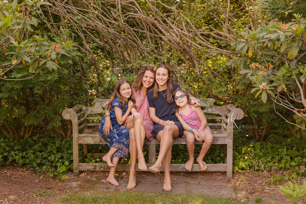 Mom with three girls on bench | Christina Keddie Photography | Princeton NJ family photographer