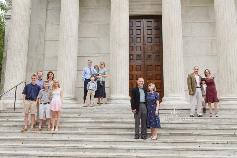 Extended family groupings on classical steps by columns | Christina Keddie Photography | Princeton NJ family photographer