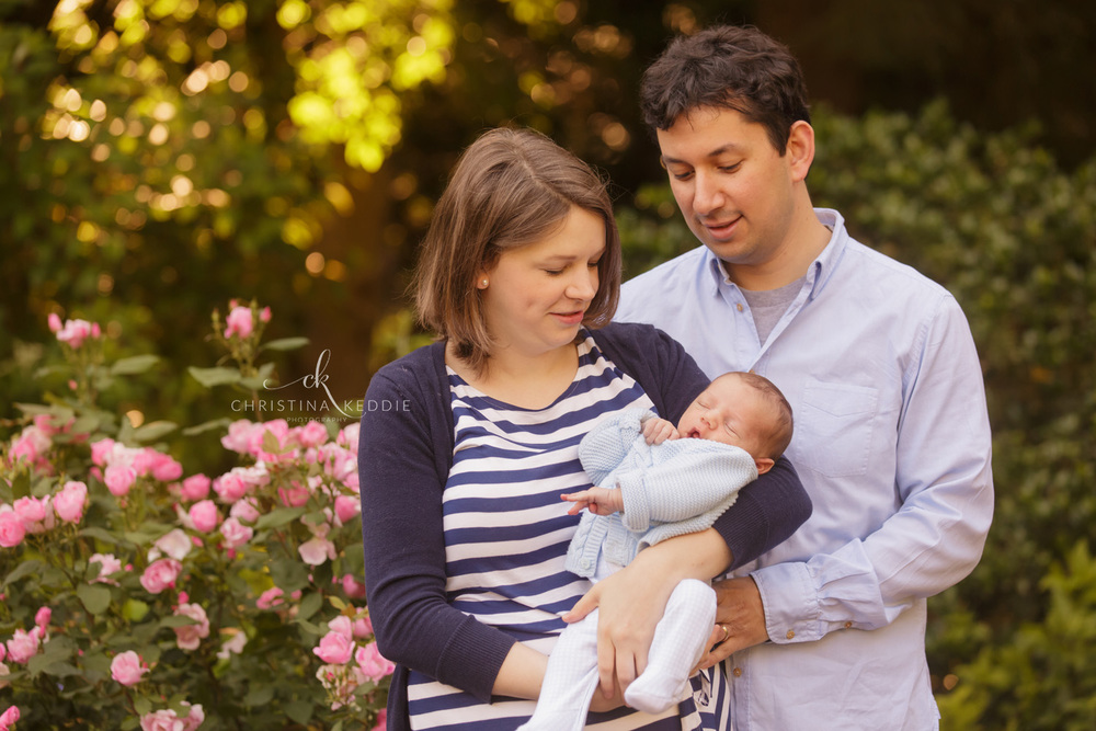 Family with newborn boy in rose garden | Christina Keddie Photography | Princeton NJ family photographer