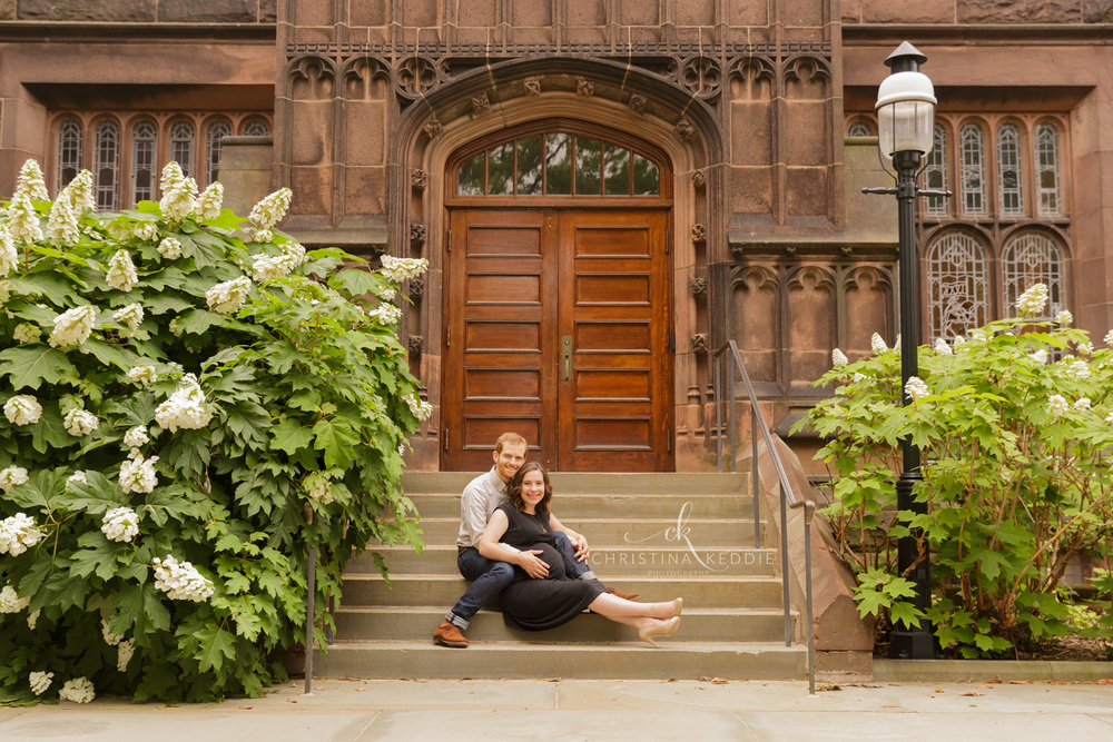 Maternity portrait on campus steps with gothic architecture | Christina Keddie Photography | Princeton NJ maternity photographer