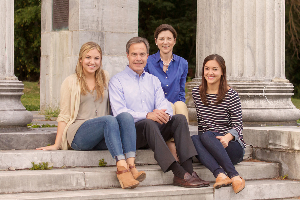 Family with two adult daughters on colonnade | Christina Keddie Photography | Princeton NJ family photographer