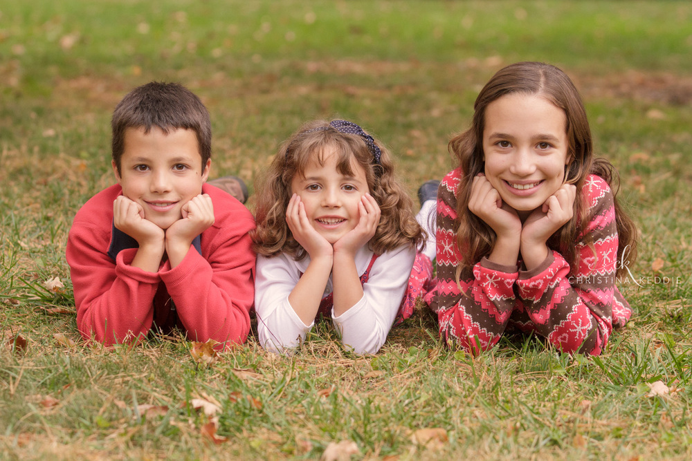 Three preteen siblings with chins in hands | Christina Keddie Photography | Princeton NJ family photographer