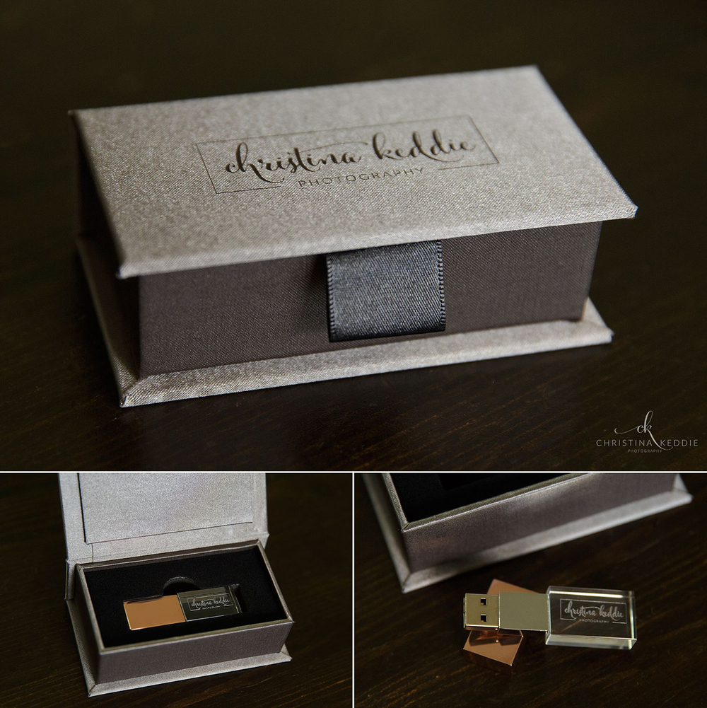 Engraved custom USB drive with rose gold cap in embossed luxe box packaging | Christina Keddie Photography | Branding for wedding photographers